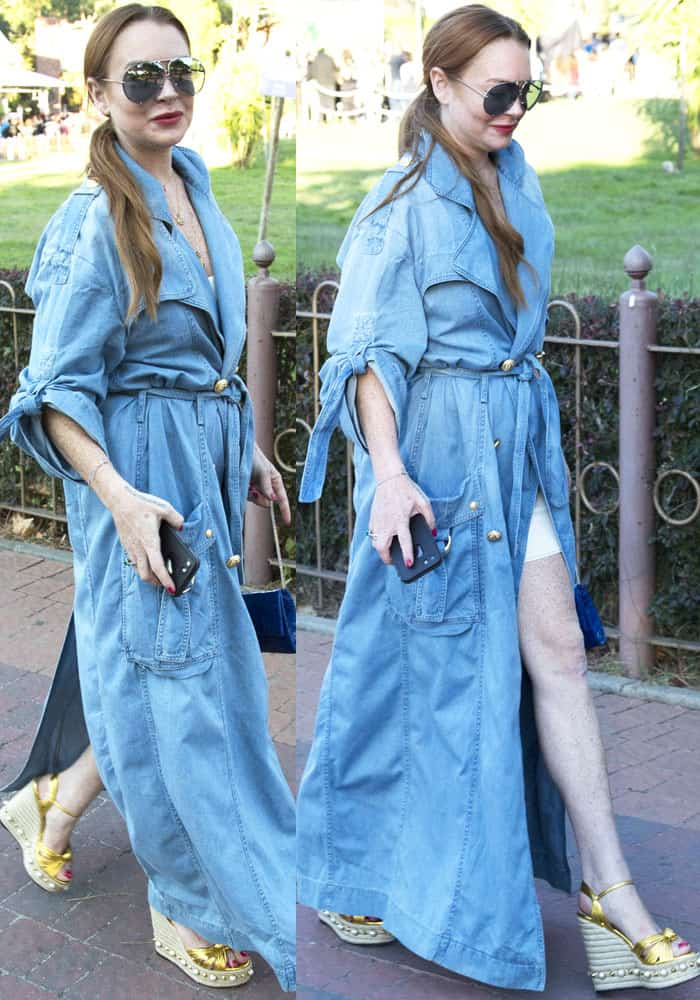 Lindsay looked stylish in a long wrap denim dress