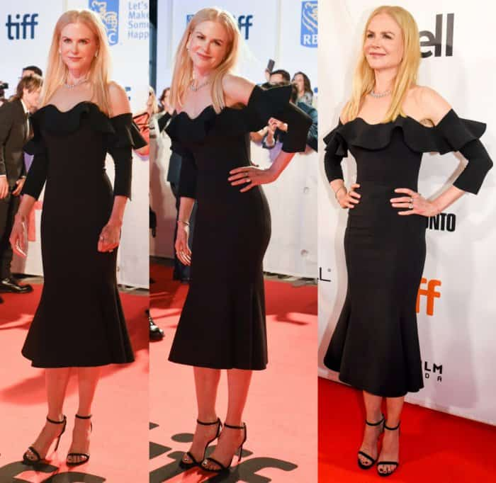 "Nicole Kidman in an Oscar dela Renta dress and Jimmy Choo ""Minny"" sandals."