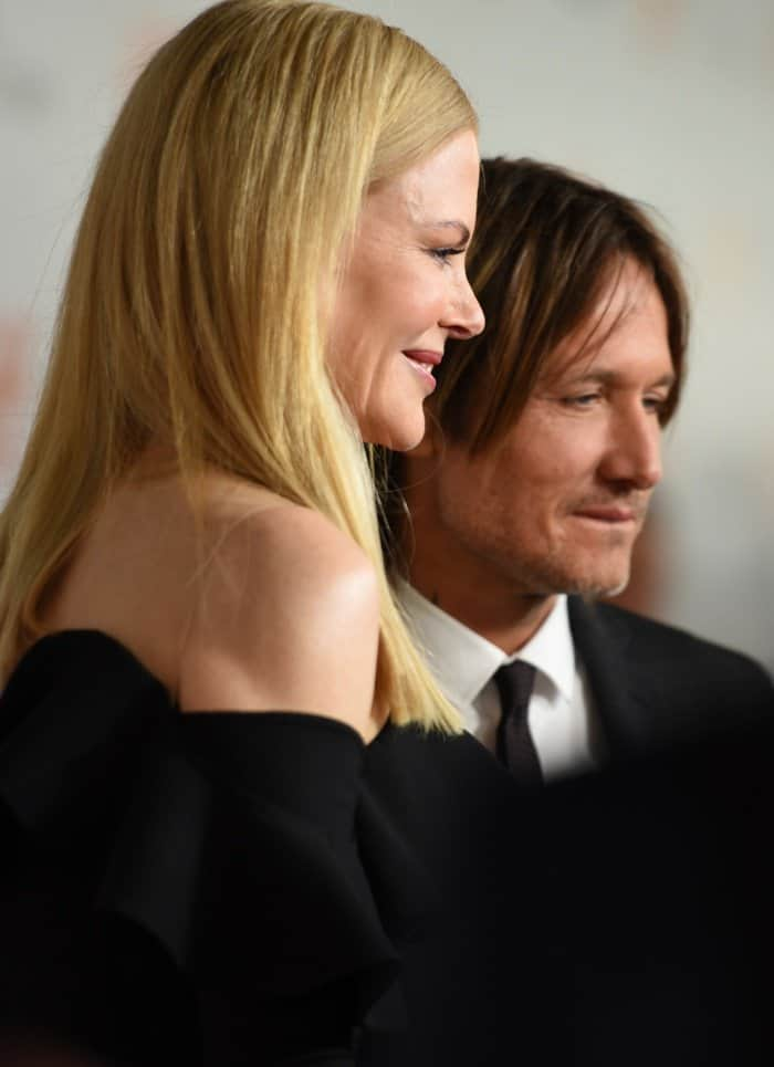 Keith Urban stands next to Nicole Kidman at the premiere of her new movie 'The Upside' on September 8, 2017 in Toronto, Canada