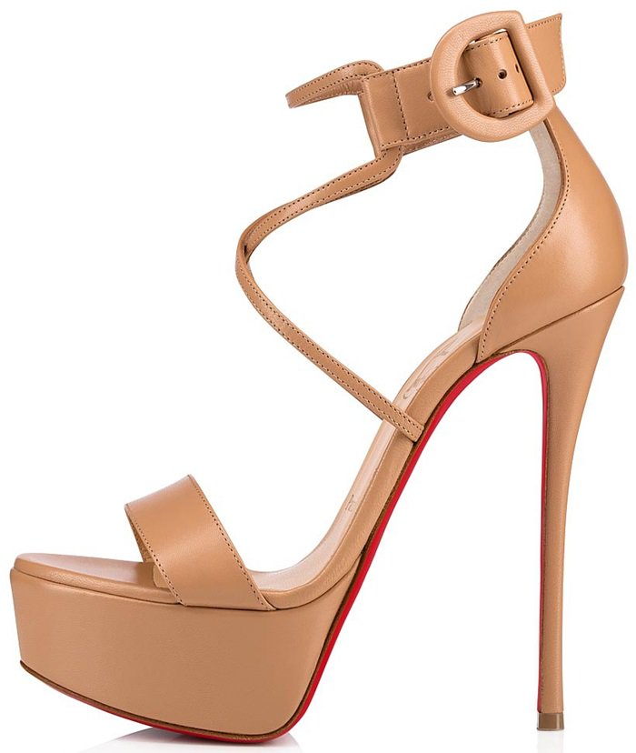 Christian Louboutin amplifies the retro sophistication of Choca with a platform and 150mm of pin-thin stiletto heel