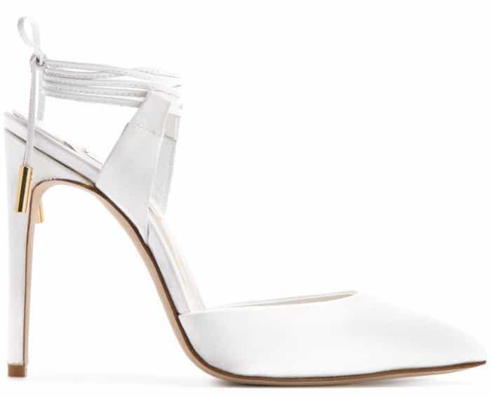 "Olgana Paris ""L'Attachante"" ankle-tie pumps in white"