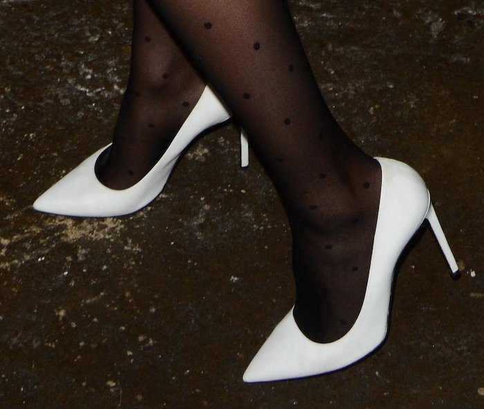 Share your white black stockings stilettos consider, that