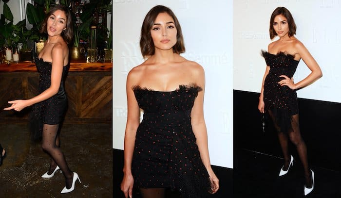 Olivia Culpo donned a polka-dot LBD from Carmen March coupled with matching black stockings from Calzedonia