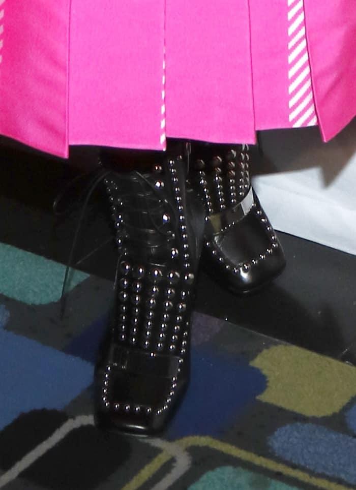 Priyanka Chopra Wears Studded Ankle Boots With Pink Fendi