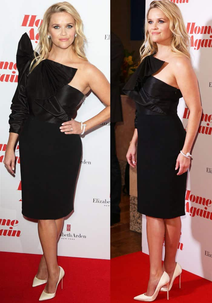 Reese wears a structured bow dress by Stella McCartney