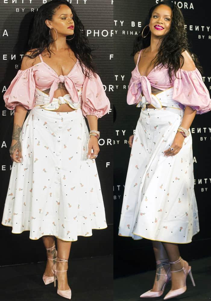 Rihanna steps out in a festive feminine creation by Ukrainian designer Marianna Senchina
