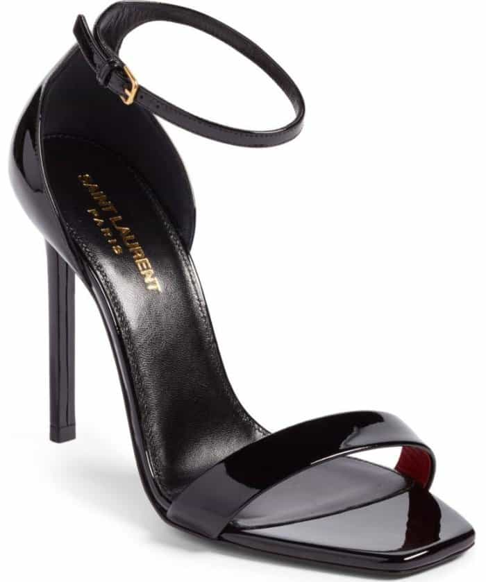 Saint Laurent 'Amber' Patent Ankle-Strap Sandals