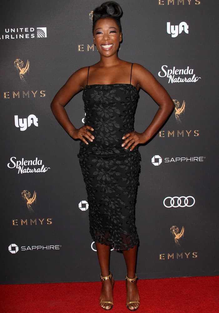 Samira Wiley wears a tacky embroidered dress