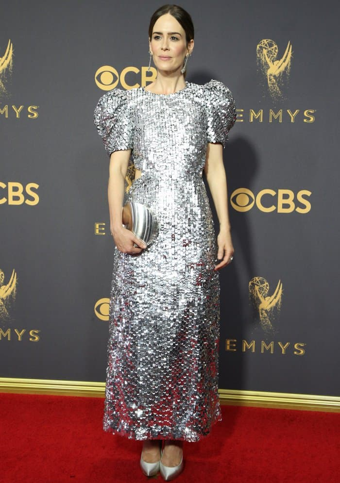 Sarah Paulson sparkled in a silver, sequined Carolina Herrera creation straight from the New York Fashion Week runway
