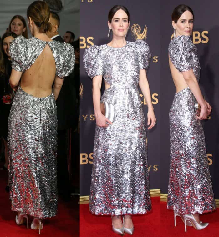 Sarah Paulson in a silver sequined Carolina Herrera dress and matching silver Stuart Weitzman pumps.