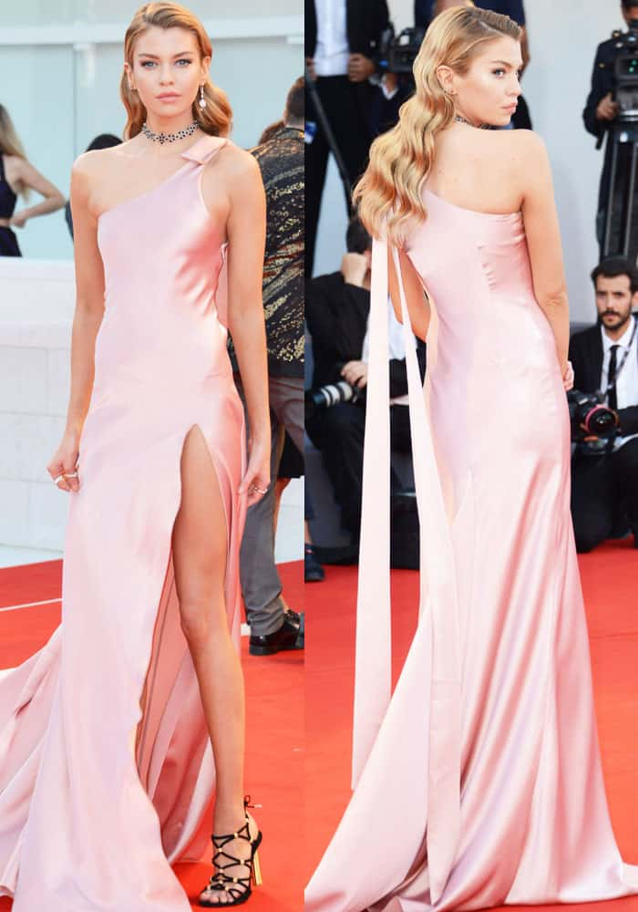 Stella dazzled in a sweet pink dress by Twinset