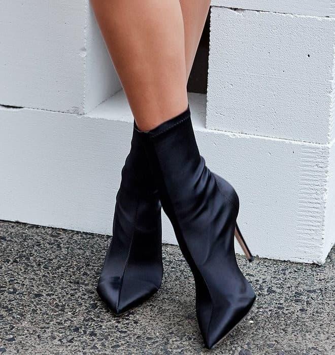 Tony Bianco 'Davis' Boots Black Stretch Satin