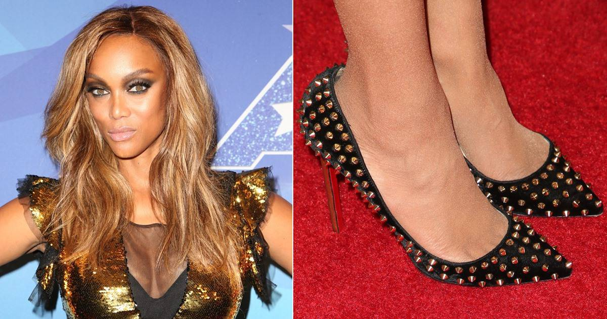 Tyra Banks Sparkles In Gold Sequined Dress And Black