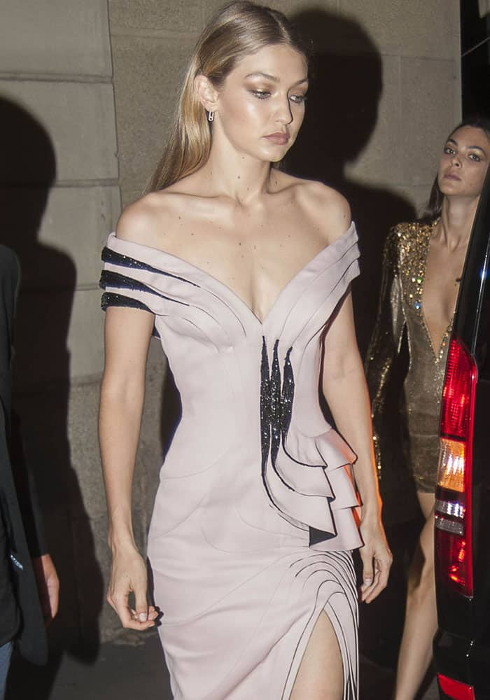 Gigi Hadid leaves the Versace after party in Milan