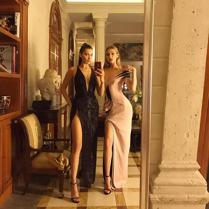 The Hadid sisters take a selfie at the after party