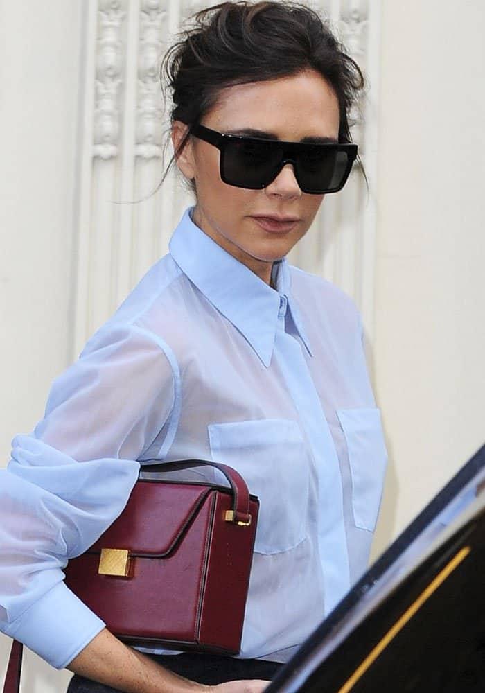 Victoria Beckham seen leaving her Dover Street store in London on September 22, 2017