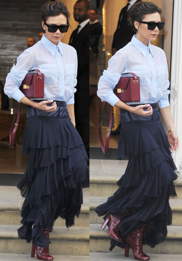 Victoria wears Victoria Beckham from head-to-toe