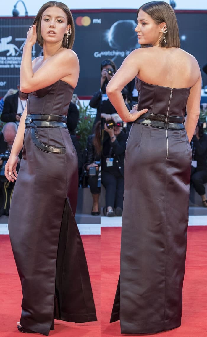 """Adele Exarchopoulos wearing a custom Louis Vuitton gown and black sandals at the """"Racer and the Jailbird"""" premiere during the 74th Venice Film Festival"""