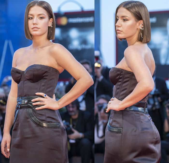 """Adele Exarchopoulos wearing a custom Louis Vuitton gown at the """"Racer and the Jailbird"""" premiere during the 74th Venice Film Festival"""