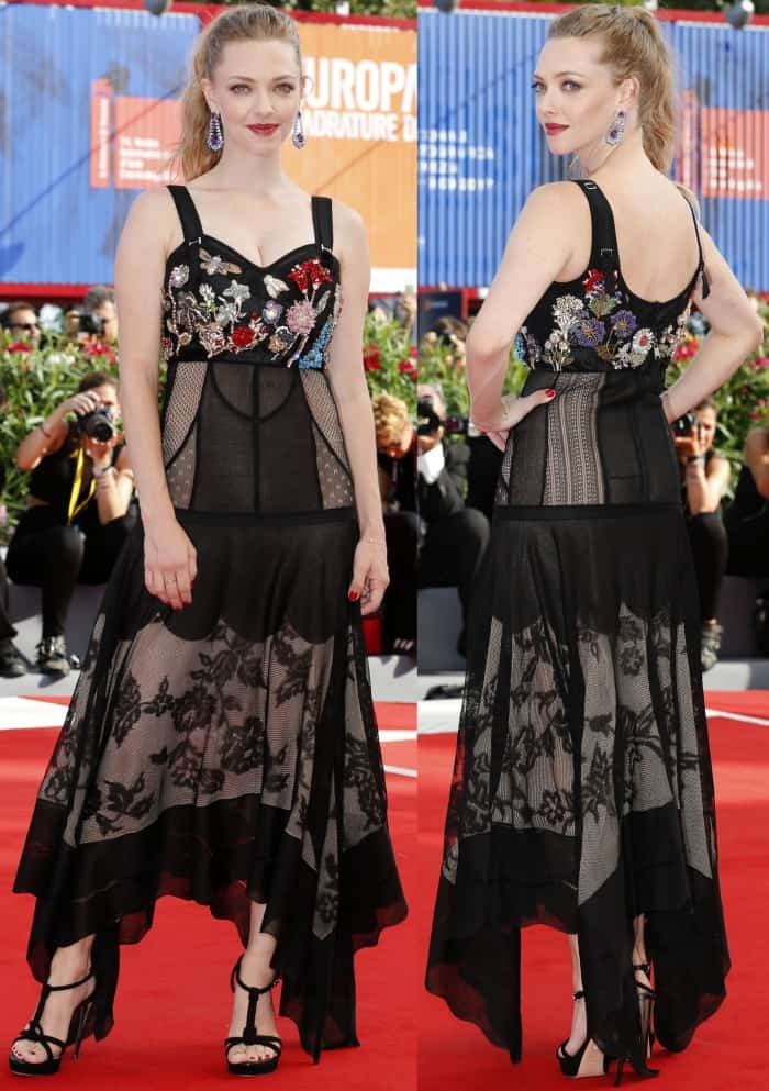 "Amanda Seyfried wearing head-to-toe Alexander McQueen at the ""First Reformed"" premiere during the 2017 Venice Film Festival"