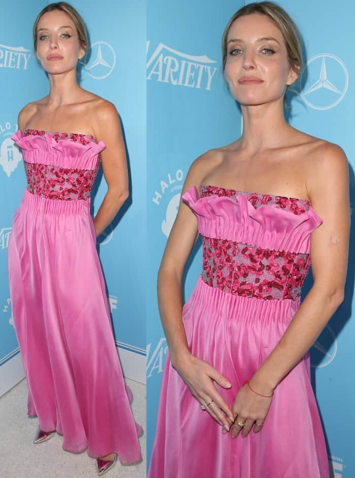 Annabelle Wallis in a pink Giorgio Armani dress and metallic pointy-toe pumps at Variety and Women in Film's 2017 Pre-Emmy party