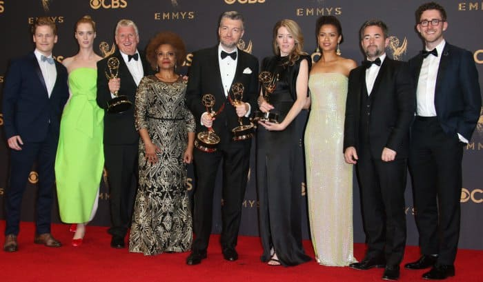 """""""Black Mirror"""" cast and crew at the 69th Emmy Awards press room at the Microsoft Theater in Los Angeles, California, on September 17, 2017"""