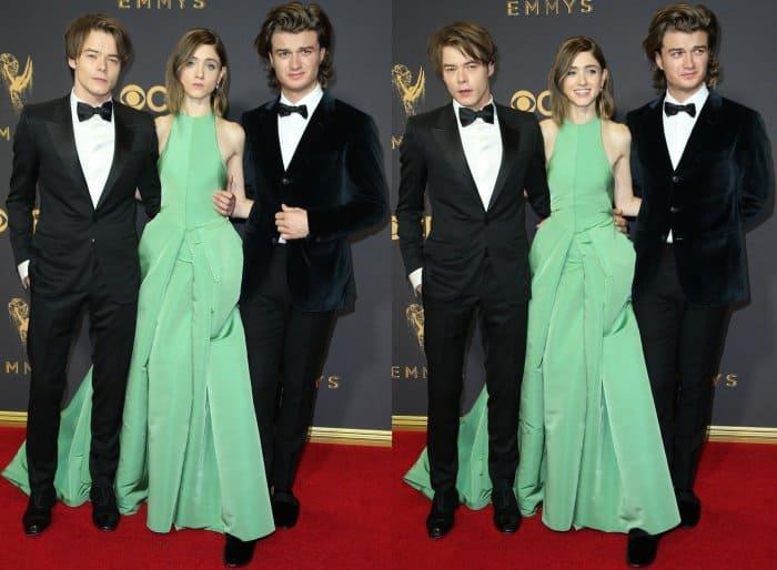 Charlie Heaton, Natalia Dyer, and Joe Keery at the 69th Emmy Awards