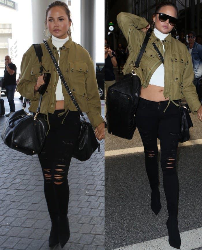100% high quality best selling good out x Chrissy Teigen Strolls Through LAX in Balenciaga Sock Boots