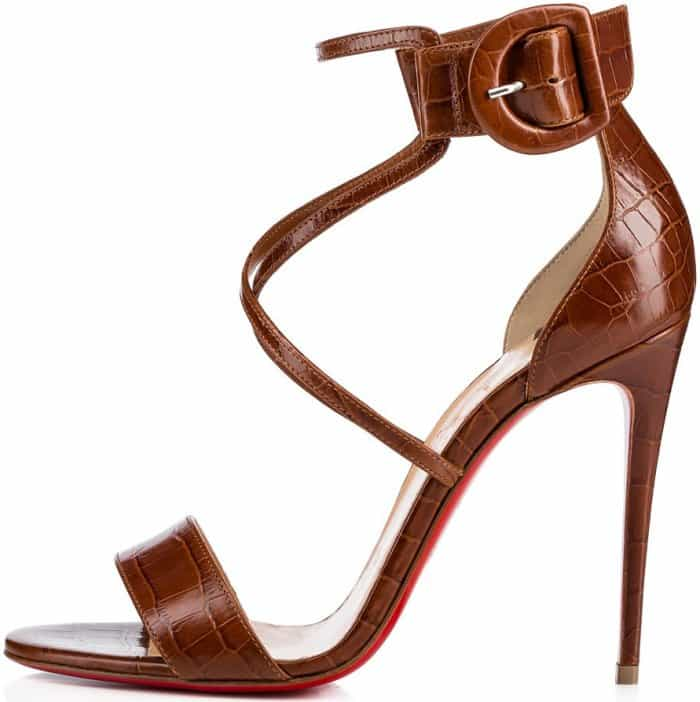 "Christian Louboutin ""Choca"" sandals in cuoio crocodile embossed leather"