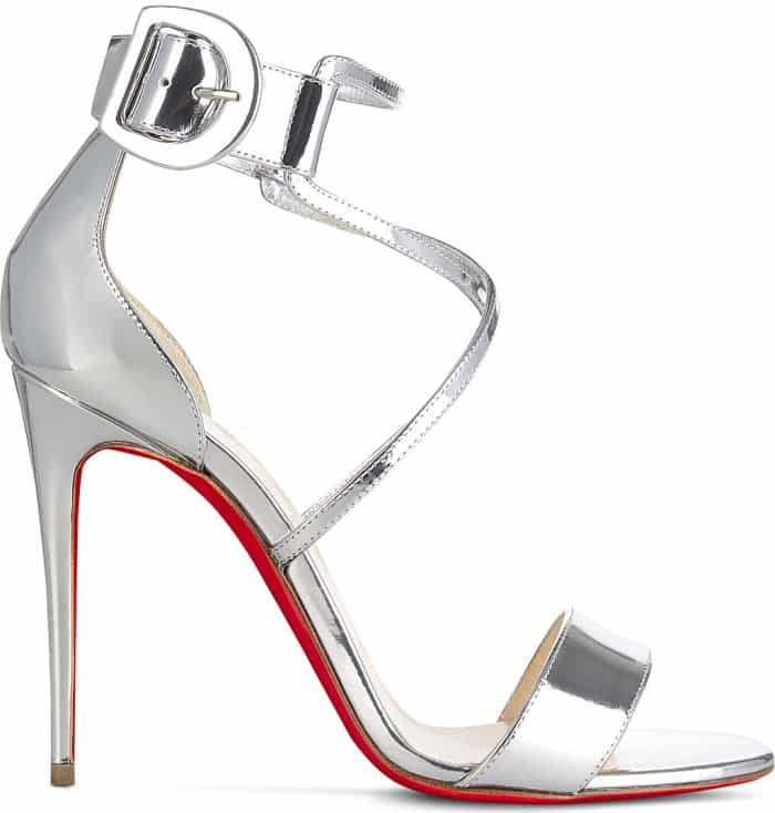 "Christian Louboutin ""Choca"" sandals in metallic silver leather"