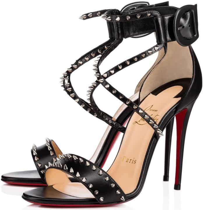 "Christian Louboutin ""Choca Spikes"" sandals in black leather"