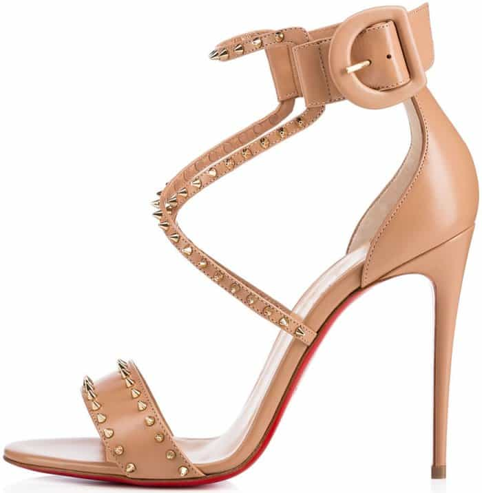"Christian Louboutin ""Choca Spikes"" sandals in nude leather"