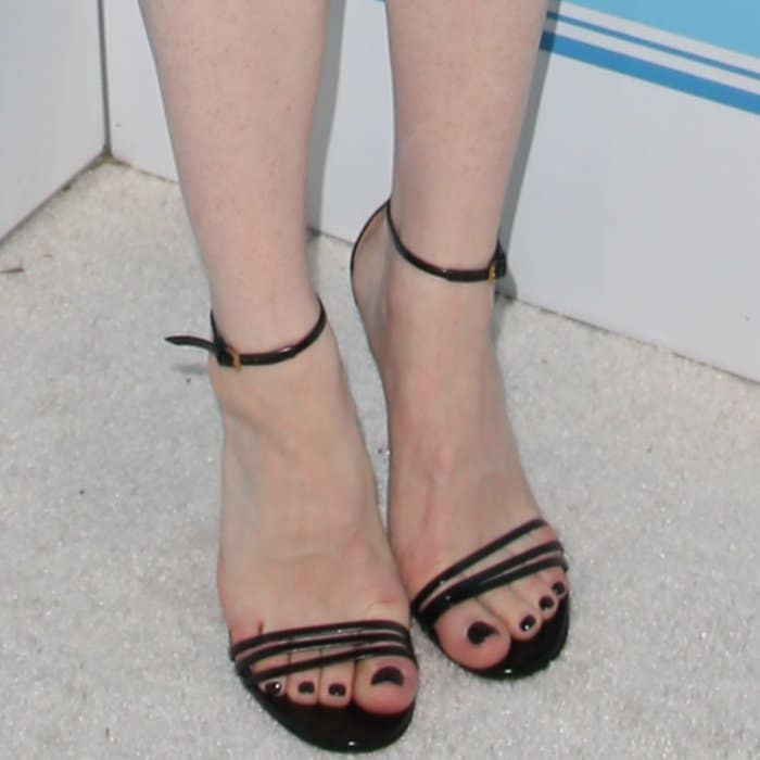 Claire Foy wearing black ankle-strap sandals at Variety and Women in Film's 2017 Pre-Emmy party