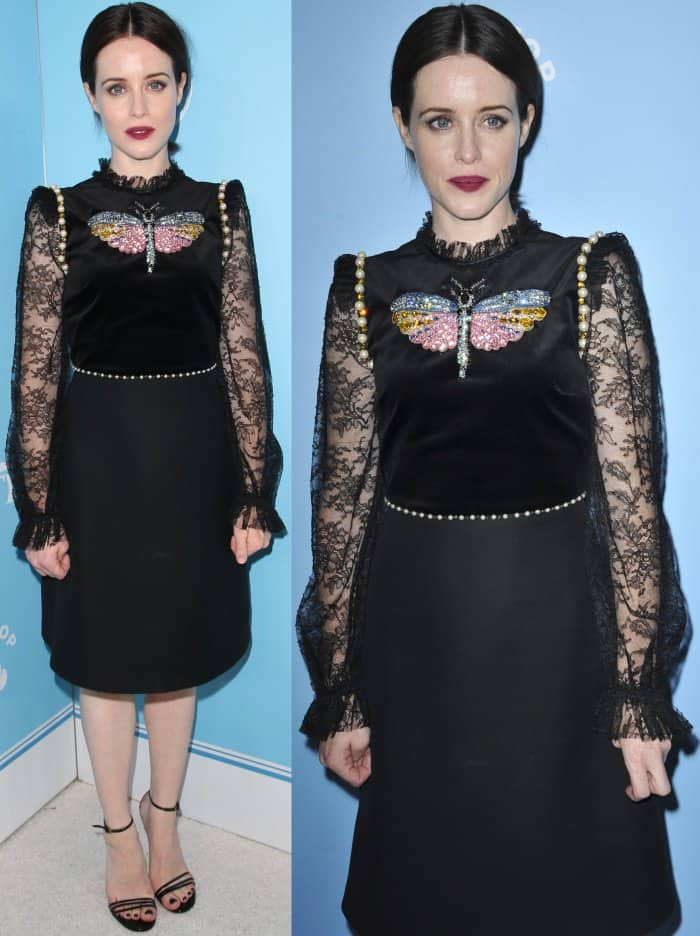 Claire Foy wearing a black Gucci dress and black ankle-strap sandals at Variety and Women in Film's 2017 Pre-Emmy party