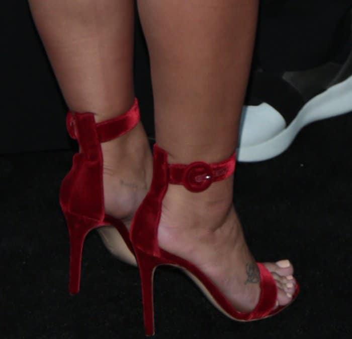 "Demi Lovato wearing Gianvito Rossi ""Portofino"" sandals in red velvet at the Brent Shapiro Foundation for Alcohol and Drug Prevention 2017 Summer Spectacular"