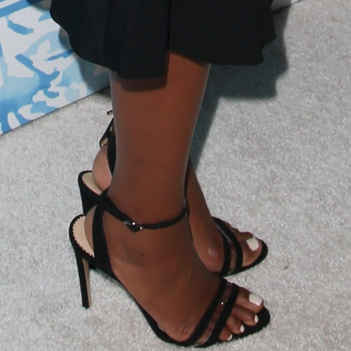 Gabrielle Union wearing Neil J. Rodgers ankle-strap sandals at Variety and Women in Film's 2017 Pre-Emmy party