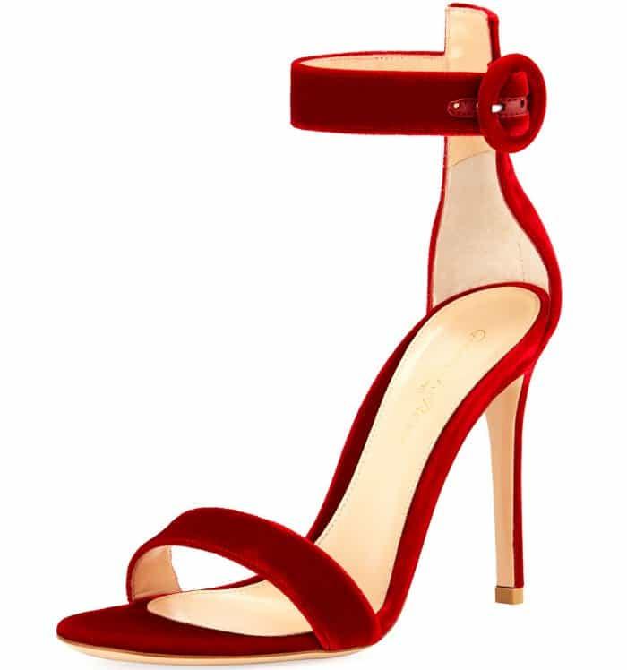 """Gianvito Rossi """"Portofino"""" sandals in red velvet"""