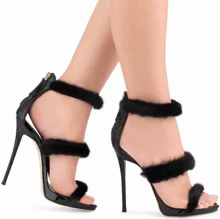"Giuseppe Zanotti ""Harmony Winter"" black patent leather sandals with mink fur"