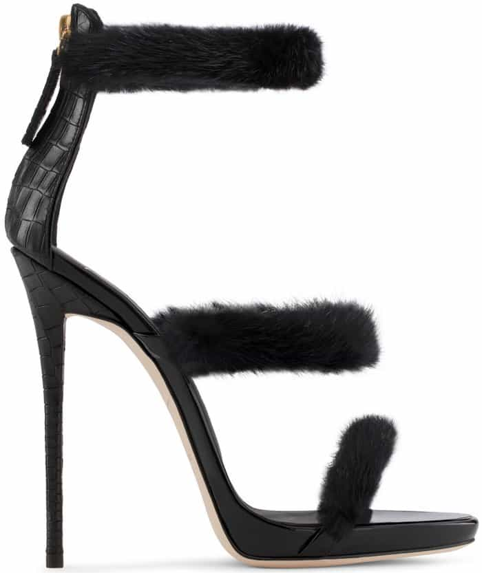 "Giuseppe Zanotti ""Harmony Winter"" black patent leather sandals with mink fur"