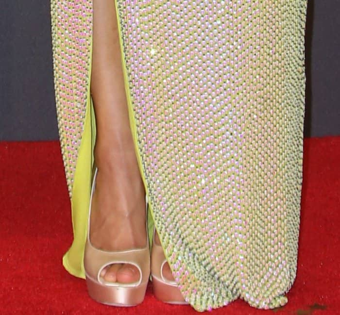 "Gugu Mbatha-Raw showing off her pedicured toes inJimmy Choo ""Vibe"" platform pumps"