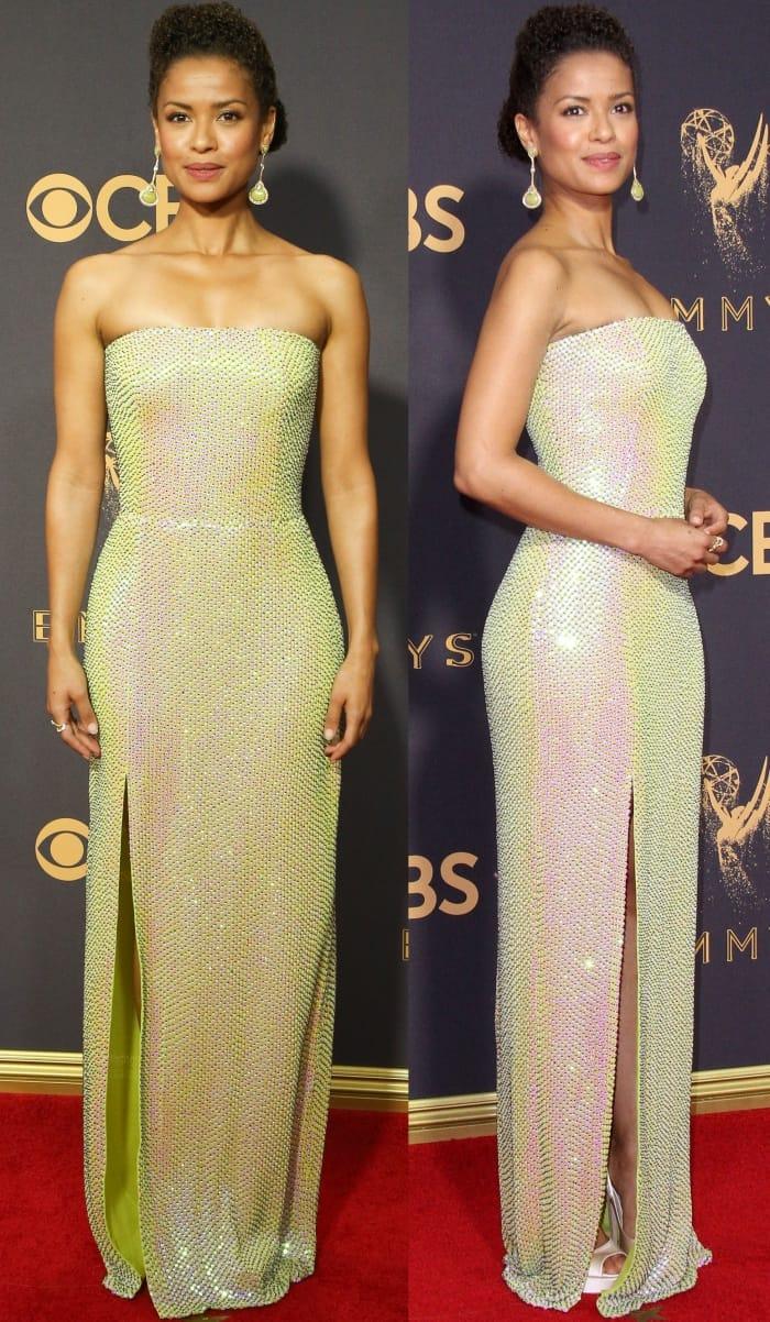 "Gugu Mbatha-Raw wearing a bespoke BOSS dress and Jimmy Choo ""Vibe"" platform pumps at the 69th Emmy Awards"
