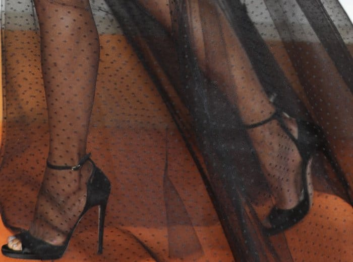 """Halle Berry wearing Jimmy Choo """"Pearl"""" sandals at the """"Kingsman: The Golden Circle"""" world premiere"""
