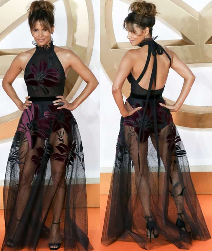 "Halle Berry wearing an Elie Saab Fall 2017 gown and Jimmy Choo ""Pearl"" sandals at the ""Kingsman: The Golden Circle"" world premiere"