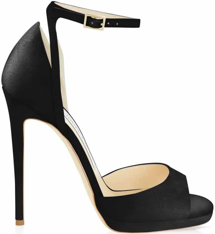 "Jimmy Choo ""Pearl"" sandals in black satin"