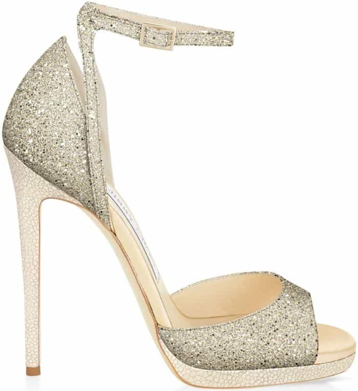 "Jimmy Choo ""Pearl"" sandals in champagne glitter fabric"