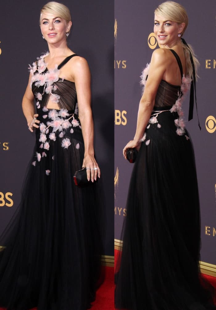 "Julianne Hough wearing a Marchesa Spring 2018 gown and Aldo ""Kaelah"" platform sandals at the 69th Emmy Awards"