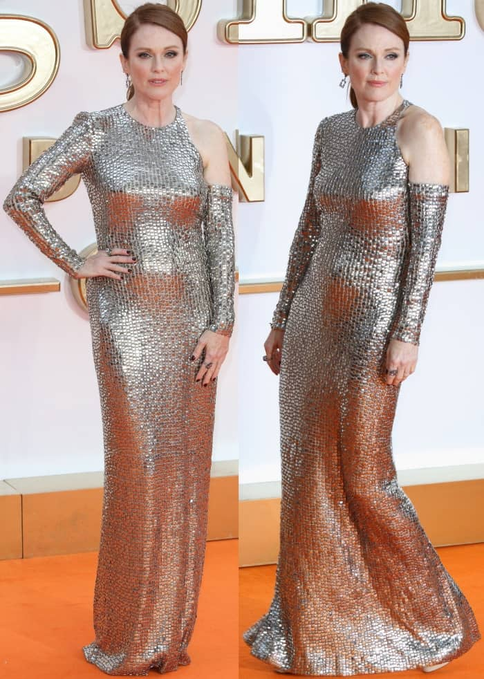 "Julianne Moore wearing a silver Tom Ford dress and nude platform sandals at the ""Kingsman: The Golden Circle"" world premiere"