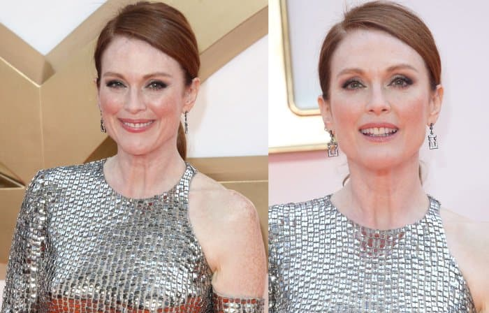 "Julianne Moore wearing a silver Tom Ford dress at the ""Kingsman: The Golden Circle"" world premiere"