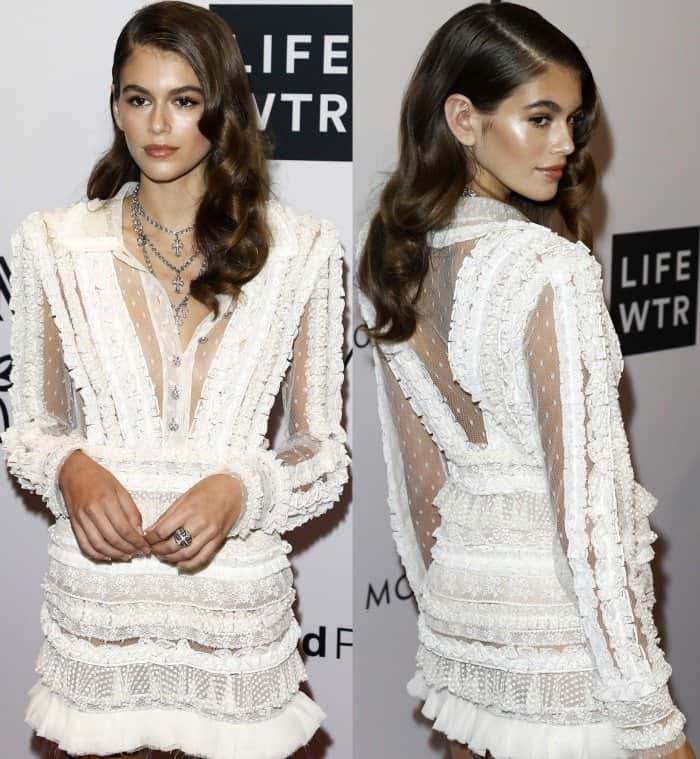 Kaia Gerber wearing a white Philosophy di Lorenzo Serafini Swiss dot tulle dress at the Daily Front Row's Fashion Media Awards