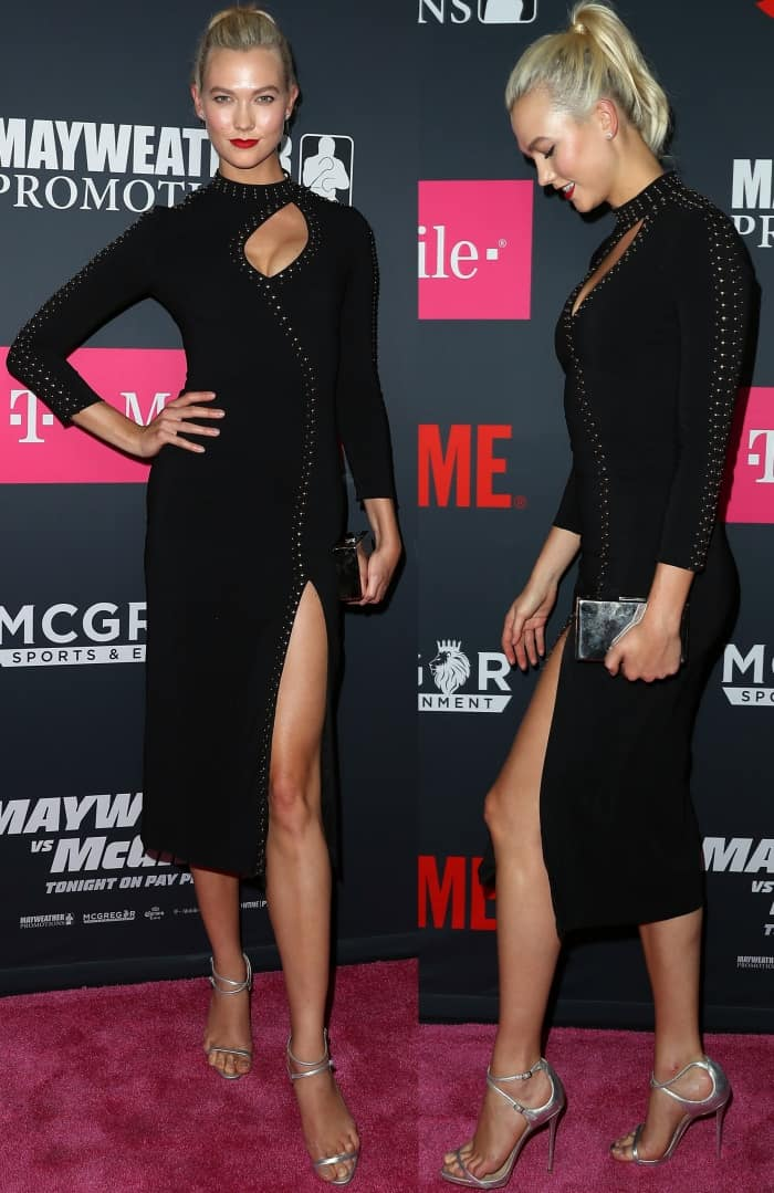 "Karlie Kloss wearing a studded black dress and Giuseppe Zanotti ""Darcie"" sandals at the Mayweather vs. McGregor pre-fight VIP party"